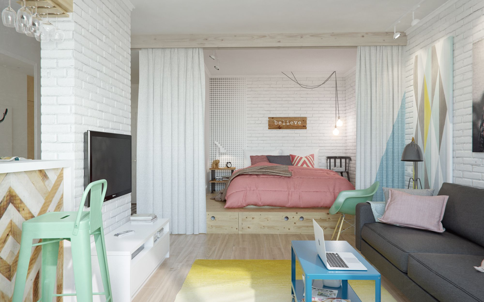 2-small-home-design-with-open-bedroom-with-curtain-separator-and-blue-wooden-coffee-table-with-white-brick-wall