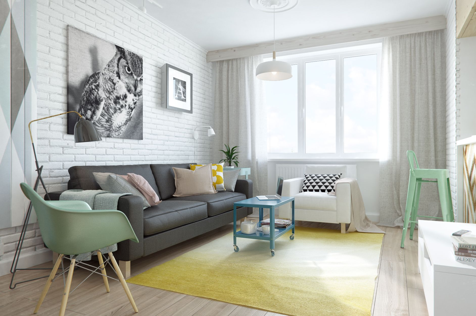 2 1-small-home-design-with-open-bedroom-with-curtain-separator-and-blue-wooden-coffee-table-with-white-brick-wall