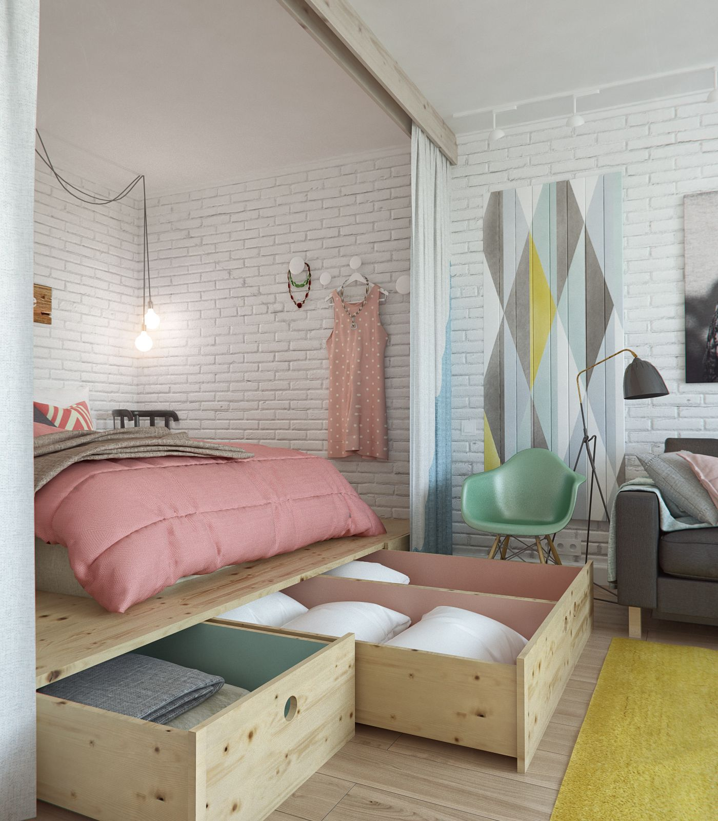 4-bedroom-home-design-with-secret-storage-container-for-bedroom-with-wooden-pull-out-container