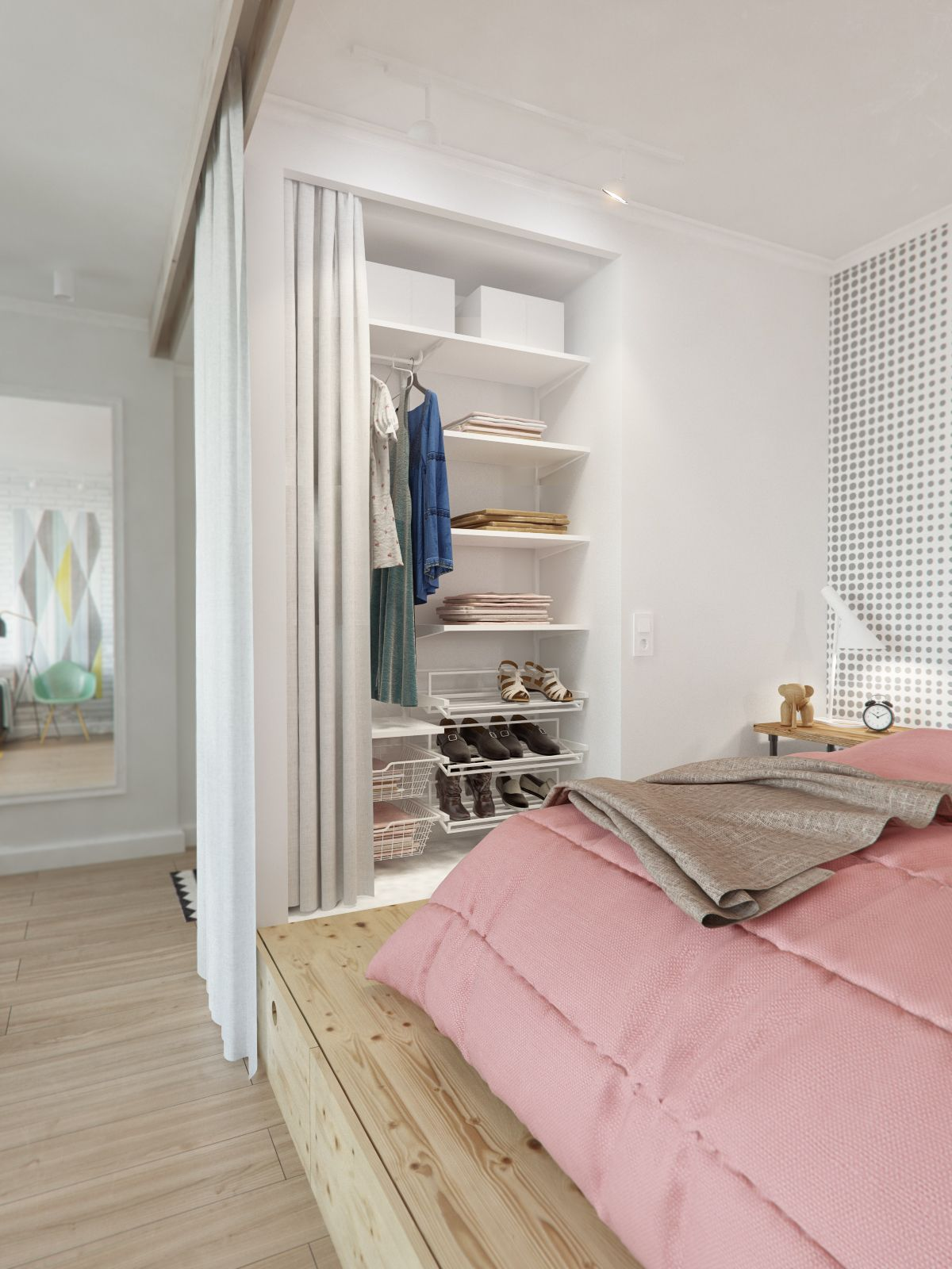 5-bedroom-design-with-pink-blanket-and-wall-white-iron-container-and-white-curtain-wall-with-wooden-frame
