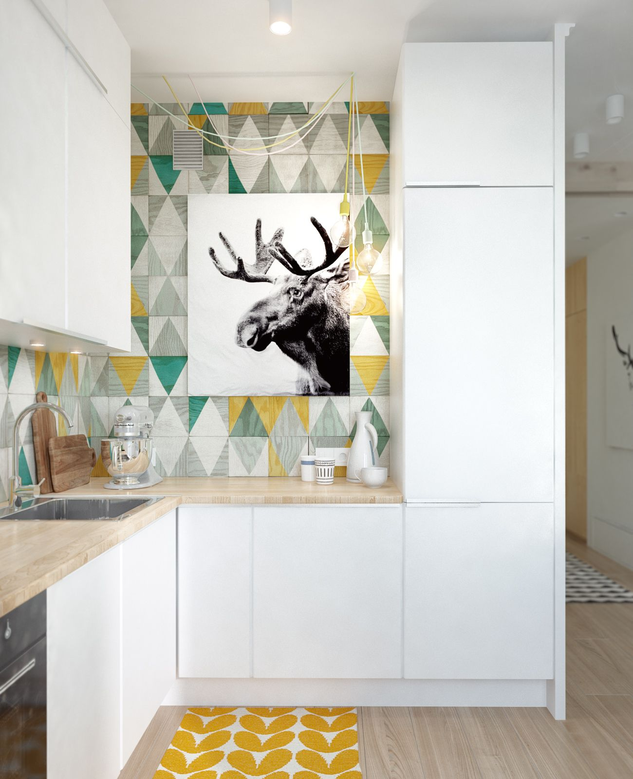 7-home-kitchen-design-with-wall-moose-picture-design-with-wooden-floor-and-multicolors-backspalsh-and-corner-kitchen-design