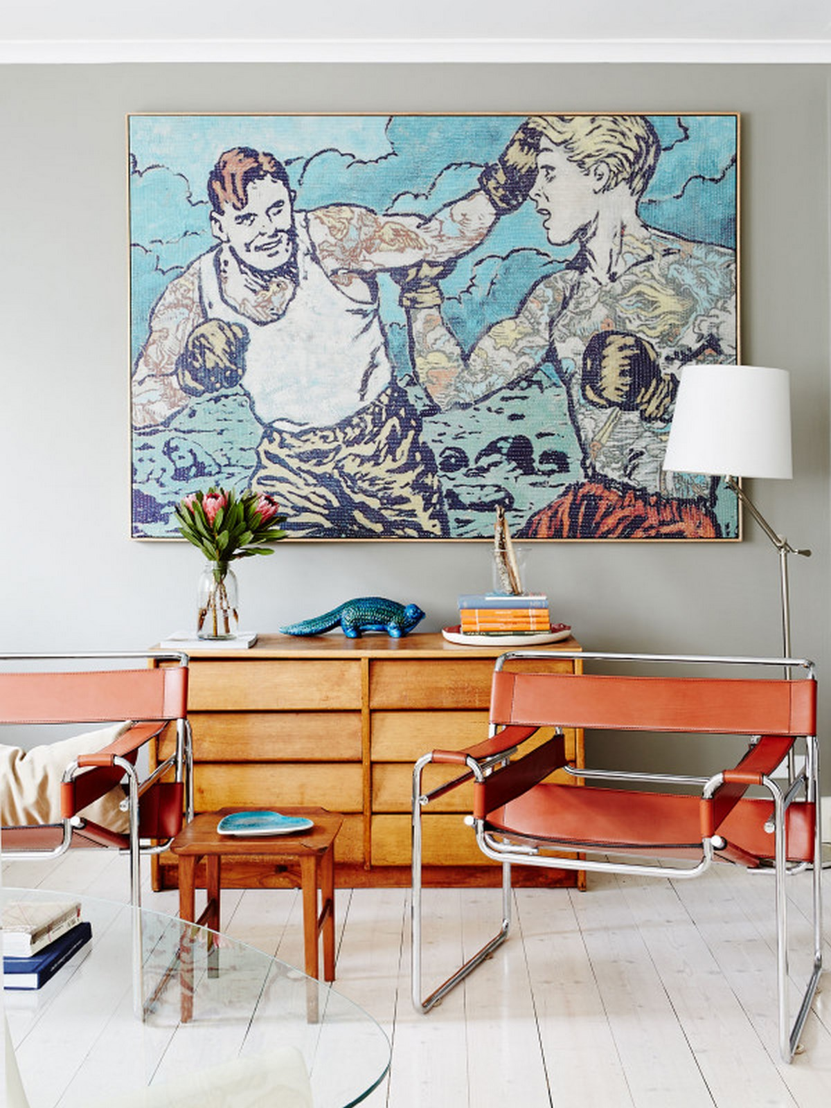 5-loft-room-design-with-single-thin-chair-iwth-sideboard-and-big-painted-wall-and-corner-standing-light-lamp