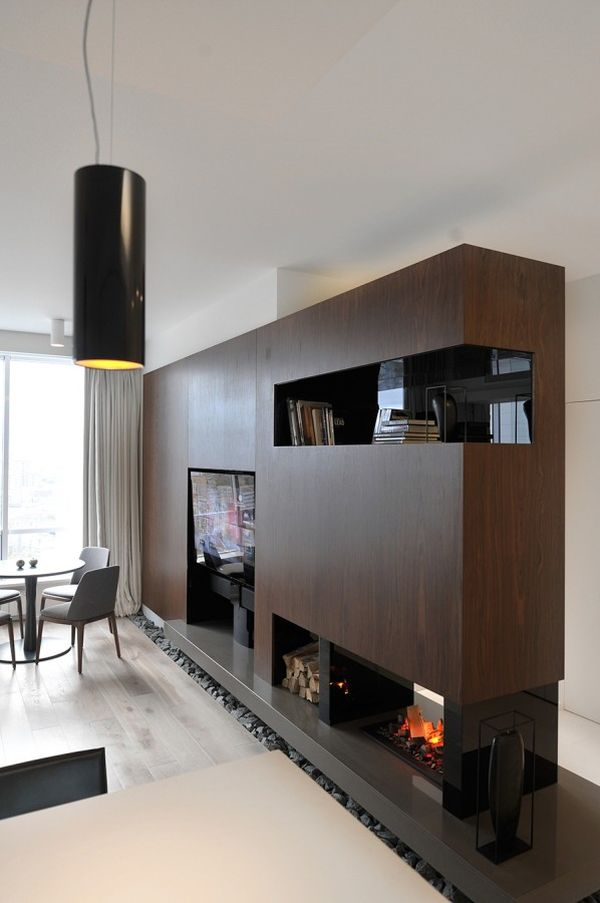 Tv-fireplace-in-built-wall